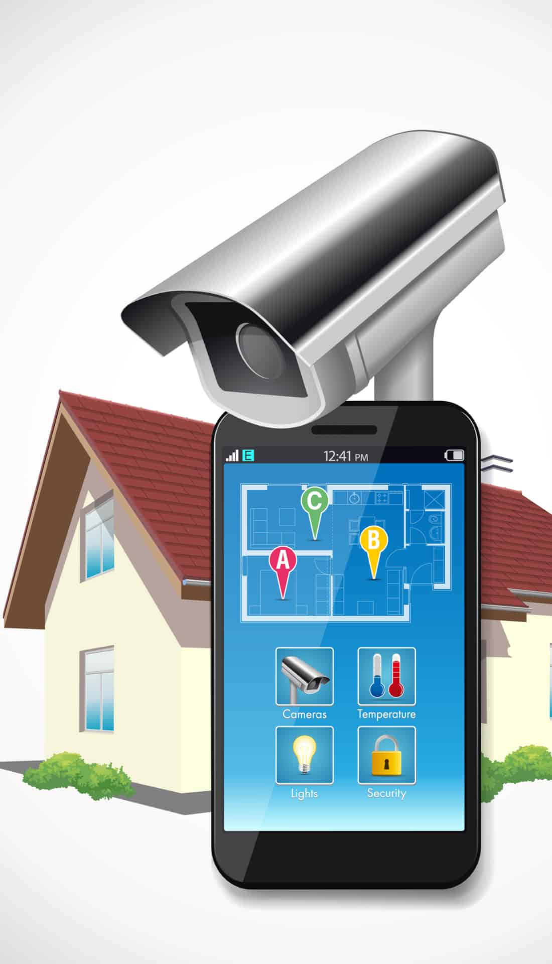 Smart phone connected to security camera